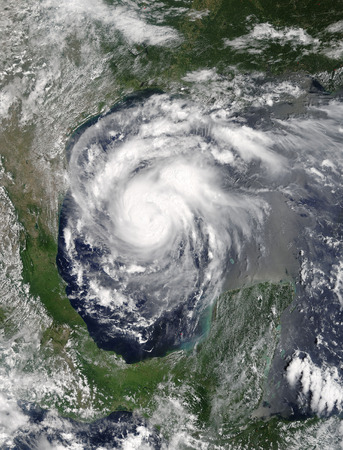 Hurricane Harvey in the Gulf of Mexico. Viewed from space. Elements of this image are furnished by NASA. Archivio Fotografico