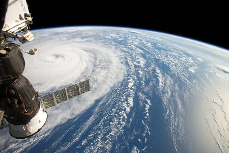 ハリケーン ハーヴェイ、見た fom 国際宇宙ステーション。NASA によって供給されるこの画像の要素