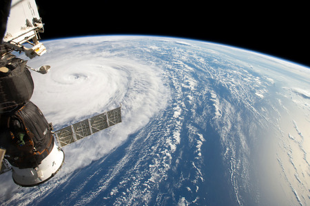 Hurricane Harvey, seen fom the International Space Station. Elements of this image are furnished by NASA Banco de Imagens