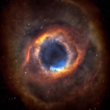 De Helixnevel of NGC 7293. Het is een van de dichtstbijzijnde planetaire nevels naar de aarde, op slechts 650 lichtjaren afstand. Gelegen in het sterrenbeeld Waterman. Elementen van deze afbeelding geleverd door NASA. Stockfoto