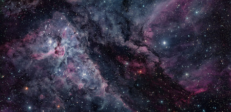 This spectacular panoramic view cof the Carina Nebula with an earlier picture of the region around the