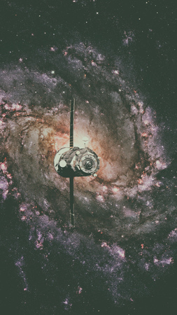 Spacecraft Progress orbiting the spiral galaxy.