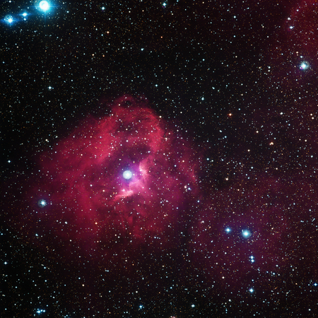 Cloud of hydrogen and newborn stars called Gum 41. It is an emission nebula that can be found in the southern constellations Vela and Puppis. Elements of this image furnished by NASA. Stock Photo