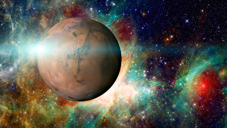 Planet Mars in the solar system. Stock Photo