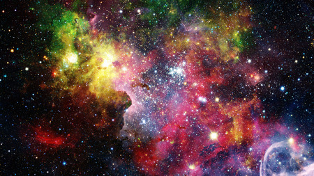 Colorful nebulas, galaxies and stars in deep space. Stock Photo