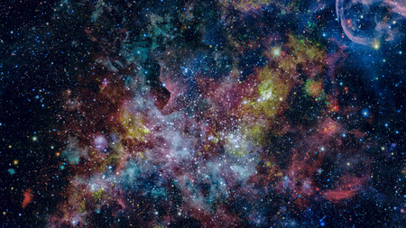 Colored clouds in nebula. Combined version of Hubble space telescope image.