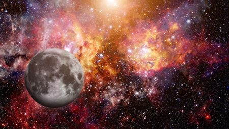 Full Moon at space. Stock Photo