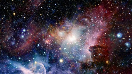 Nebula and galaxies in deep space. Elements of this image furnished by NASA. Stock Photo