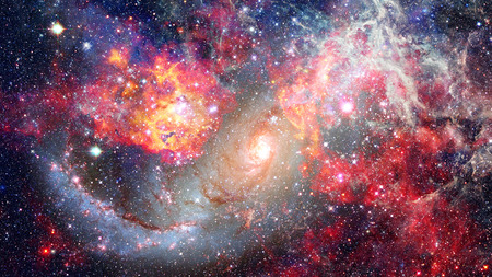 Awesome spiral galaxy many light years far from the Earth. Stock Photo