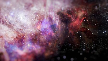 Abstract scientific background - galaxy and nebula in space. Science fiction art with small DOF. Stock Photo