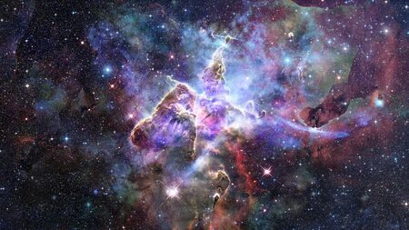 Mystic Mountain. Region in the Carina Nebula imaged by the Hubble Space Telescope. 스톡 콘텐츠