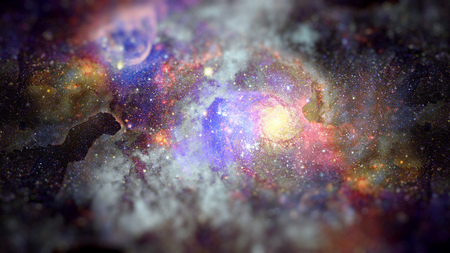 Image of the nebula in deep space. Science fiction art with small DOF.