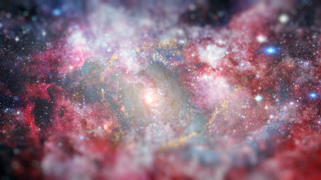 Dreamscape galaxy. Science fiction art with small DOF. Stock Photo