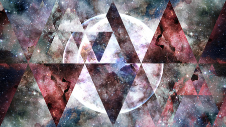 Universe, nebula, galaxy and the sacred geometry collage. Abstract outer space. 免版税图像