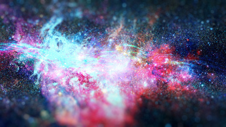 Nebula and galaxies in space. Science fiction art with small DOF.