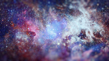 Galaxy and nebula. Science fiction art with small DOF.