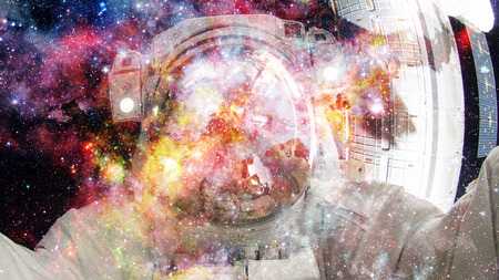 Astronaut in outer space. Science fiction art. Stock Photo