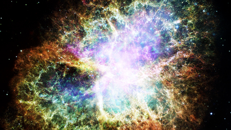 Deep outer space background with stars and nebula. Stock Photo