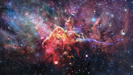 Mystic Mountain. Region in the Carina Nebula imaged by the Hubble Space Telescope. Stock Photo