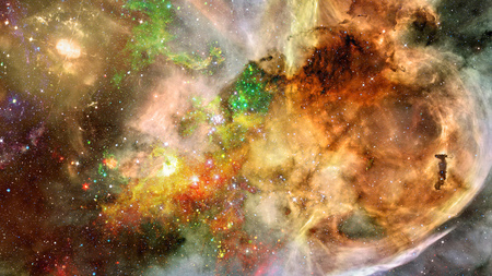 Abstract bright colorful universe. Nebula night starry sky in rainbow colors. Multicolor outer space. Elements of this image furnished by NASA.