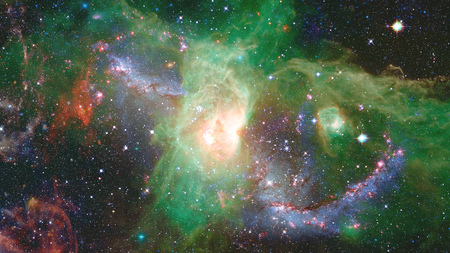 Nebula and stars in deep space, glowing mysterious universe. Stock Photo