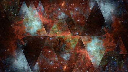 Universe, nebula, galaxy and the sacred geometry collage. Abstract outer space. Stock Photo