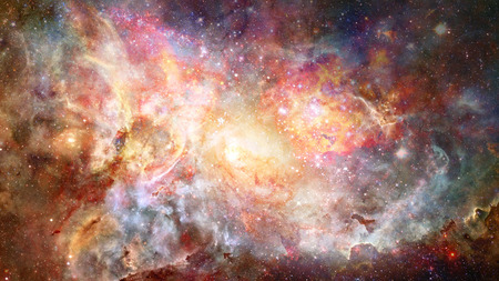 Nebula and spiral galaxies in space.