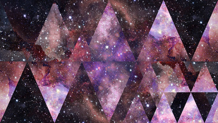 Universe, nebula, galaxy and the sacred geometry collage. Abstract outer space. Фото со стока