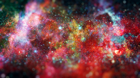 Nebula and stars in deep space, mysterious universe. Science fiction art with small DOF.