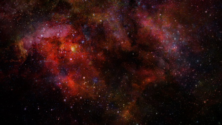 Nebula and galaxies in dark space.