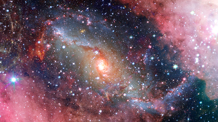Spiral galaxy in space. Elements of this image furnished by NASA. Stock Photo