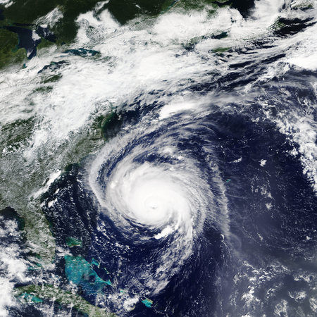 Hurricane Florence heading towards the East Coast of the United States in September 2018 Фото со стока