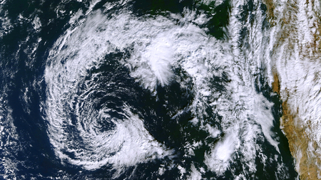 Hurricane from space. Satellite view. Stock Photo