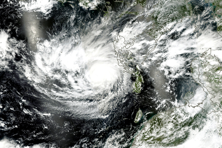 Typhoon from space. Satellite view. Stock Photo