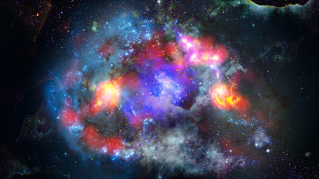 Starry deep outer space - nebula and galaxy. Stock Photo