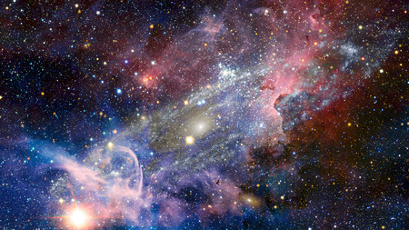 Weltraumkunst. Nebel, Galaxien und helle Sterne in schöner Komposition. Elemente dieses von der NASA bereitgestellten Bildes