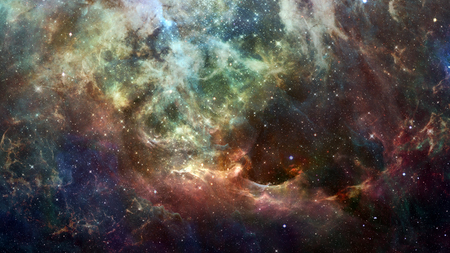 Abstract bright colorful universe. Nebula night starry sky in rainbow colors. Multicolor outer space.