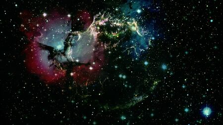 Infinite space background with nebulas and stars. 写真素材