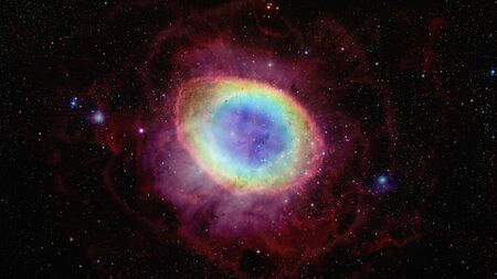 The Ring Nebula is a planetary nebula in the northern constellation of Lyra. Reklamní fotografie