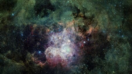 Green cosmic background. Nebulae space.