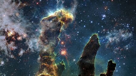 The Pillars of Creation in the nebula.