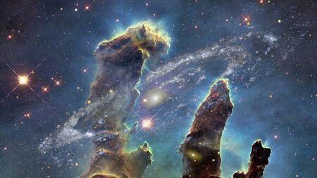 Die Säulen der Schöpfung. Der Adlernebel. Standard-Bild