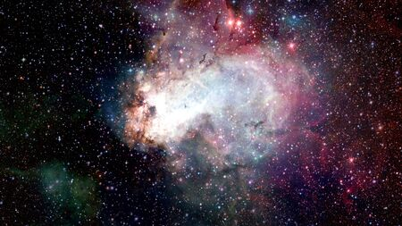 Astronomical scientific background, nebula and stars in deep space, glowing mysterious universe.