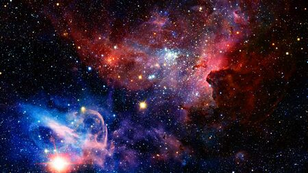 Universe scene with stars and galaxies in outer space.