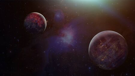 Exoplanets or Extra solar planet with stars on nebula background.