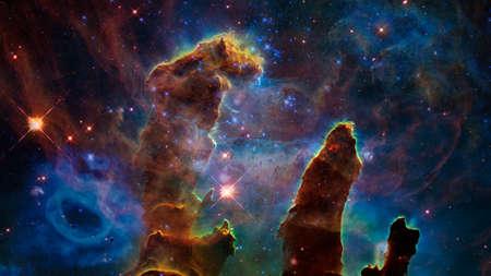 Blue space nebula 版權商用圖片
