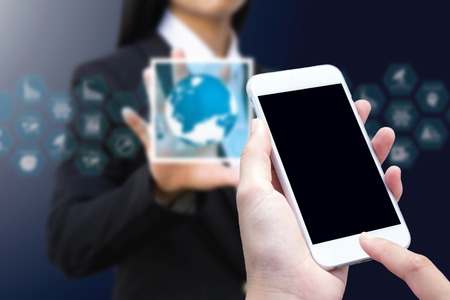 woman hand hold and touch screen smart phone
