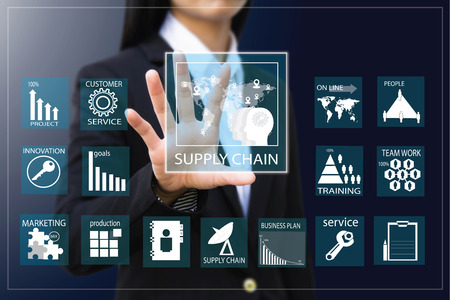 business process: business woman , Businesswoman making presentation Stock Photo