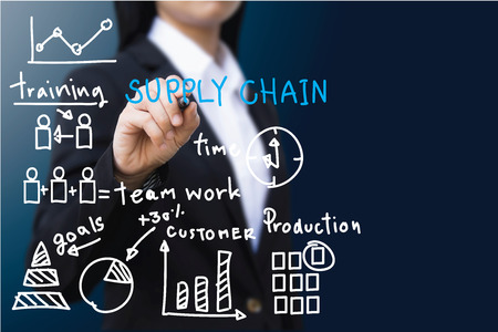 chain: business woman , Businesswoman making presentation Stock Photo