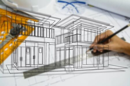 architecture: engineering and architecture drawings Stock Photo